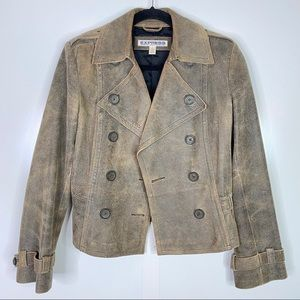 Express Leather Distressed Moto Jacket Size 6 Tan